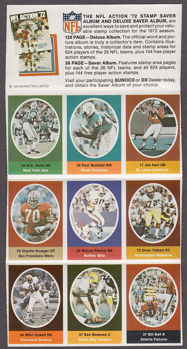 1972 NFL '72 Sunoco DX stamp set of 9 HOF Dolphins Paul Warfield + Jim Hart