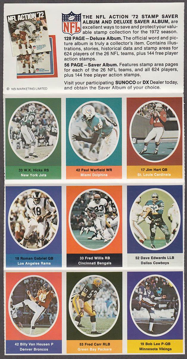 1972 NFL '72 Sunoco DX stamp set of 9 HOF Dolphins Paul Warfield + Roman Gabriel