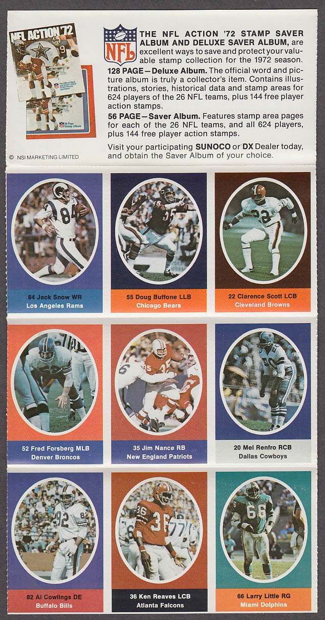 1972 NFL '72 Sunoco DX stamp set of 9 HOF Dolphins Larry Little Cowboys Renfro