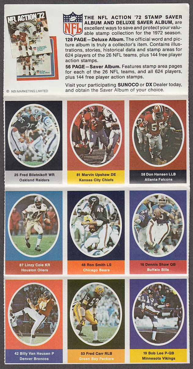 1972 NFL '72 Sunoco DX stamp set of 9 HOF Raiders Fred Biletnikoff + Fred Carr