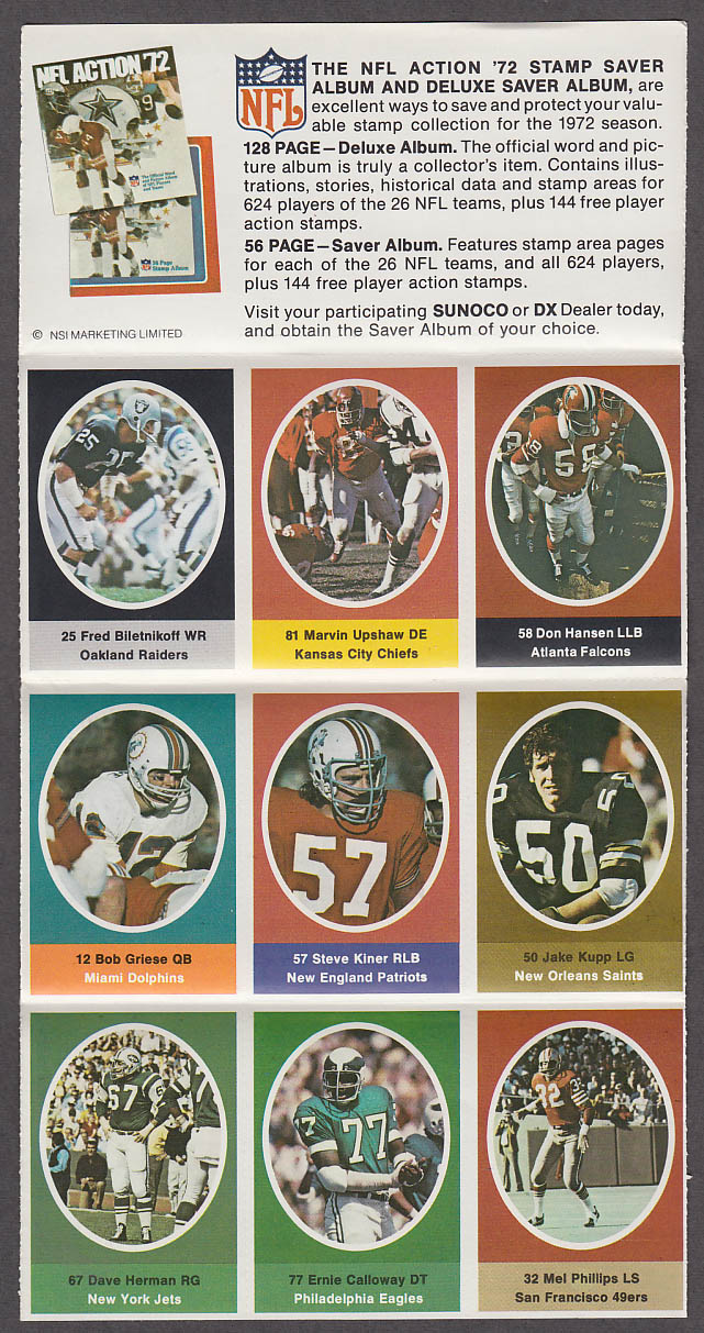 1972 NFL '72 Sunoco DX stamp set of 9 HOF Raiders Biletnikoff Dolphins Griese