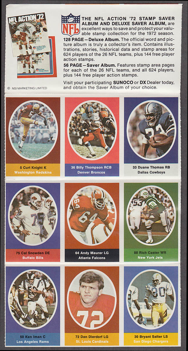 1972 NFL '72 Sunoco DX stamp set of 9 HOF Cardinals Dierdorf + Duane Thomas