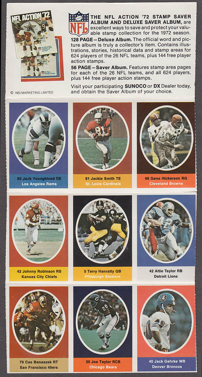 1972 NFL '72 Sunoco DX stamp set of 9 HOF Jackie Smith Gene Hickerson Youngblood