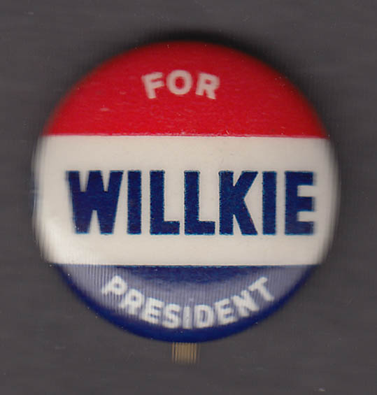 Willkie for President campaign pinback button 1940 Union bug on edge