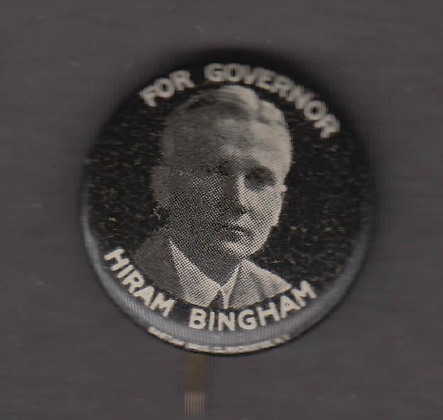 Hiram Bingham for Governor pinback button Connecticut 1924
