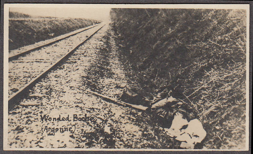 Image for Wounded German Boche in railroad ditch miniature World War I photo