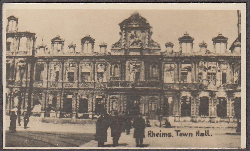 Façade of ruined town Hall Rheims France miniature World War I photo