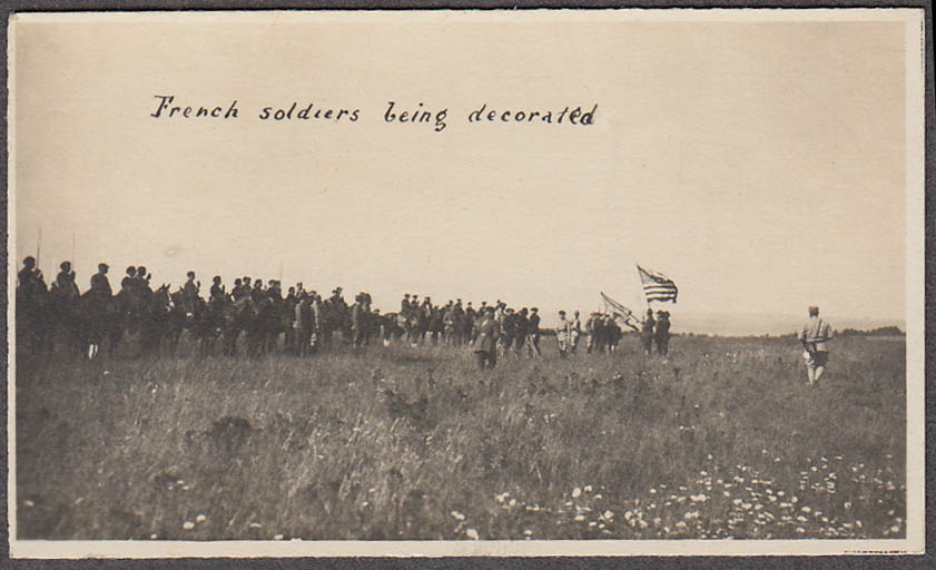 Image for French cavalry soldiers being decorated US flagminiature World War I photo