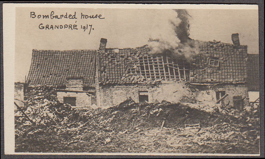 Bombarded home Grandpre France miniature World War I photo 1917