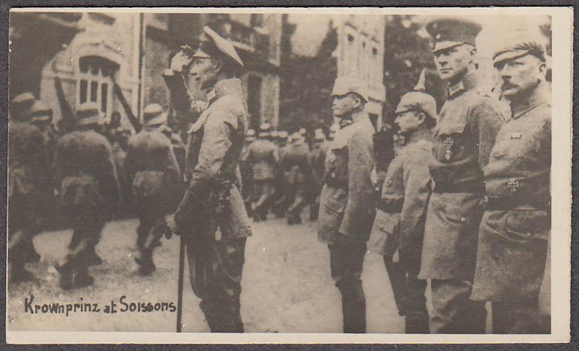 Kronprinz Wilhelm reviews troops Soissons miniature World War I photo