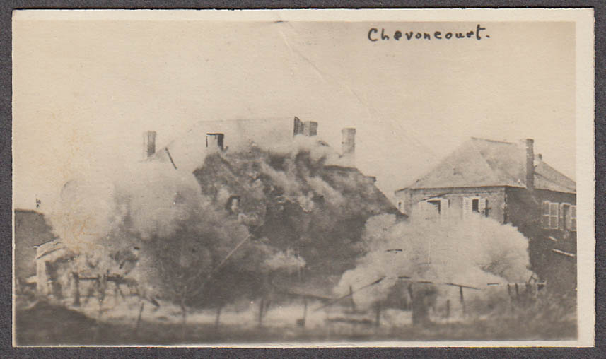 Bombardment of Chevoncourt France miniature World War I photo