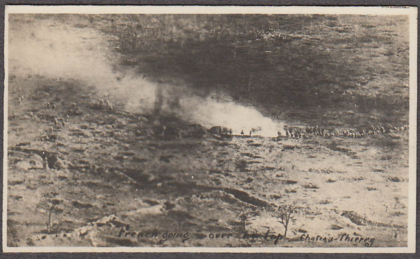 French soldiers over the top Chateau Thierry miniature World War I photo
