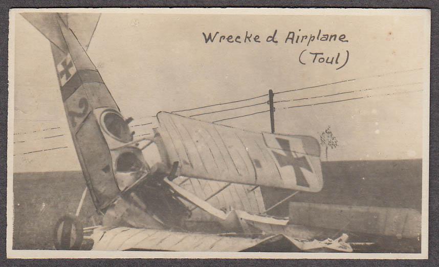Wrecked German biplane at Toul France miniature World War I photo