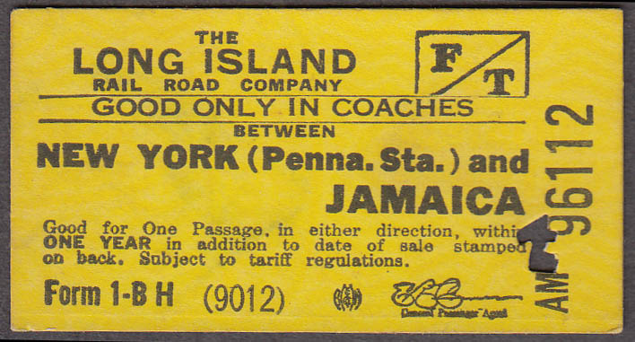 Long Island Rail Road RR ticket Penn Station-Jamaica 1946