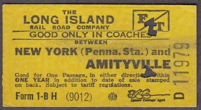 Long Island Rail Road RR ticket Penn Station-Amintyville 1946