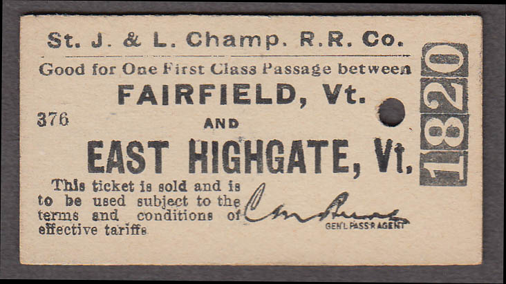 St Johnsbury & Lake Champlain RR ticket Fairfield-East Highgate VT 1945