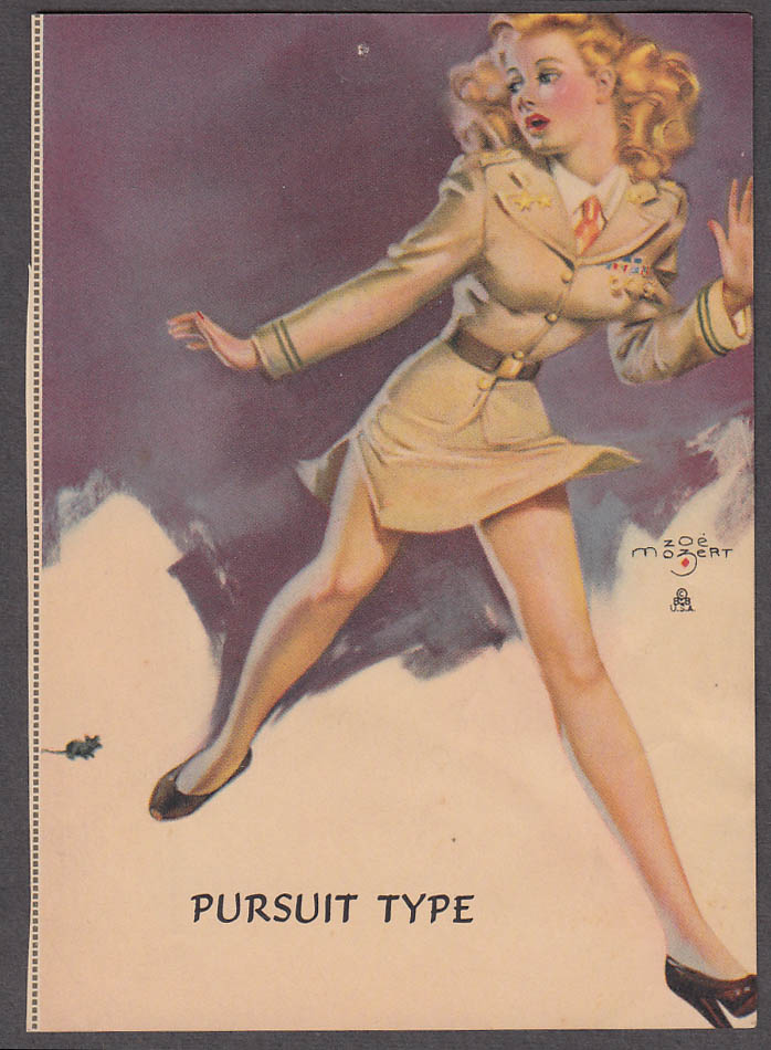 Pursuit Type Zoe Mozert pin-up print 1940s redhead in uniform