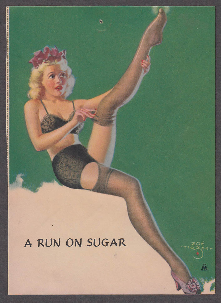 A Run on Sugar Zoe Mozert pin-up print 1940s Blonde in black undies & stockings