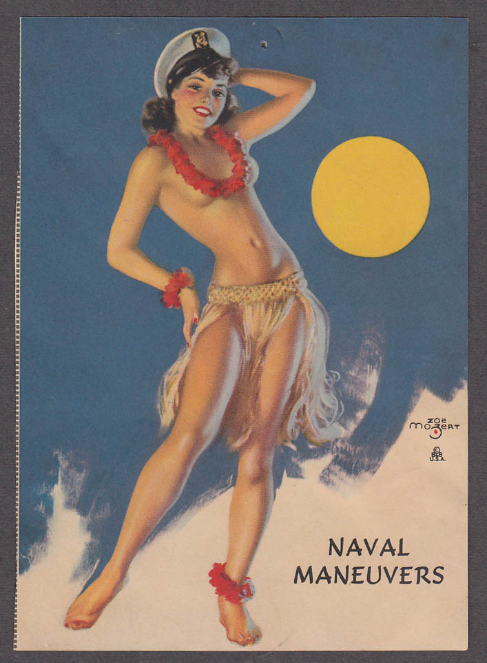Image for Naval Maneuvers Zoe Mozert pin-up print topless brunette lei & navy cover 1940s