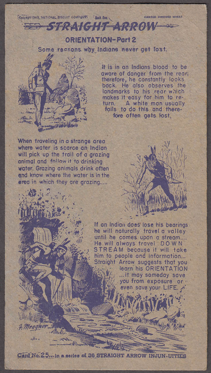Image for Nabisco Straight Arrow Card Book 1 #25 Indian Orientation 1949