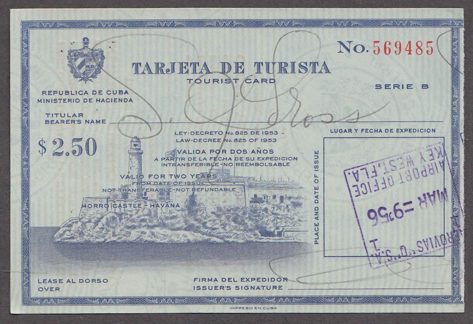 Image for Tarjeta de Turista Tourist Card Cuba 1956 Valid for 2 Years