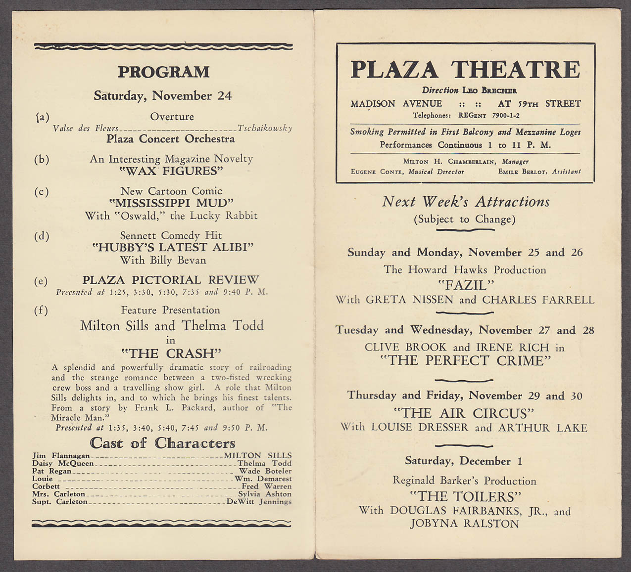 Image for Plaza Theatre 11/18 1928 NYC Street Angel King of Kings The Crash Win That Girl