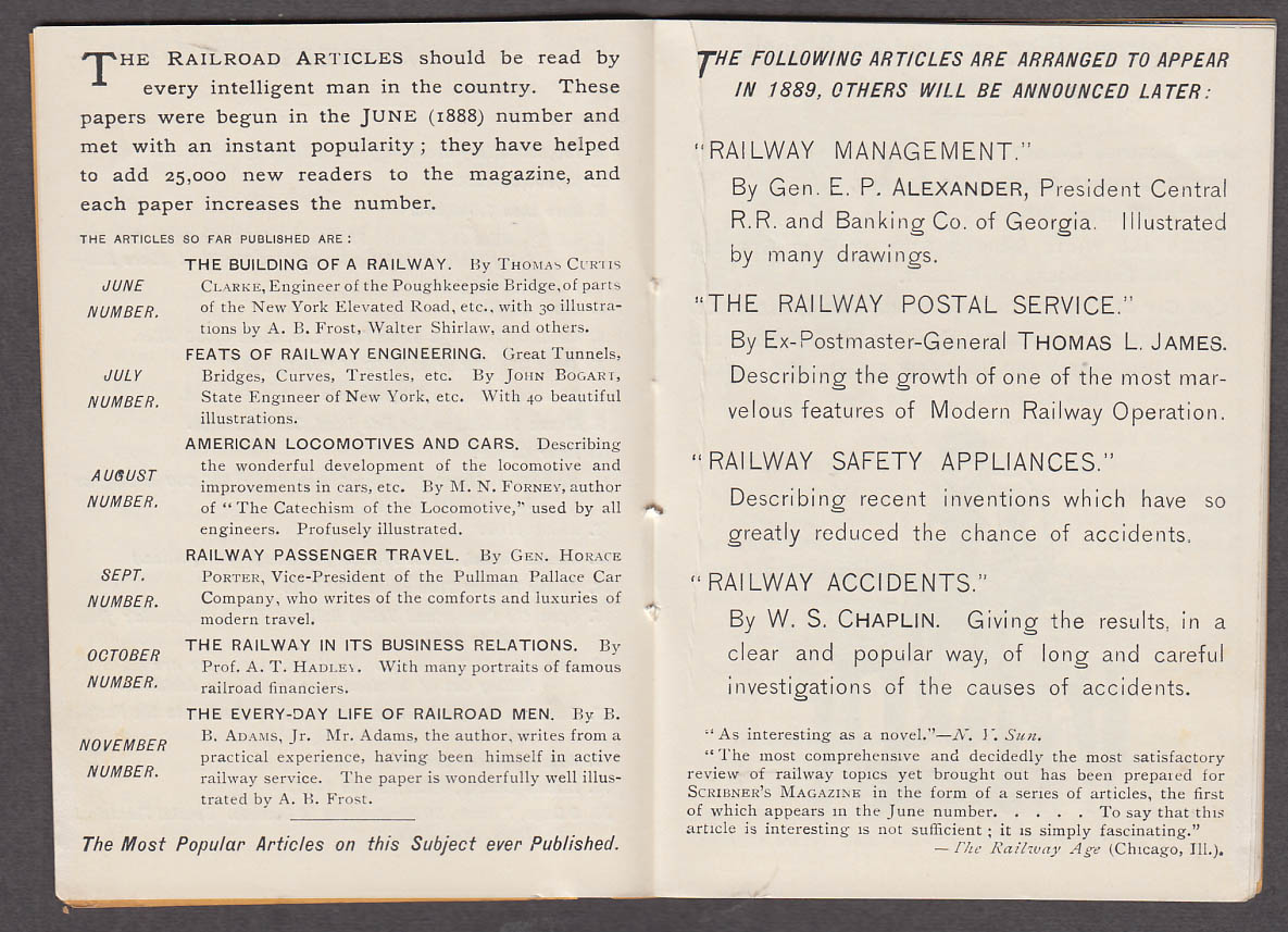 Image for Scribner's Magazine Railroad Information Booklet 1888