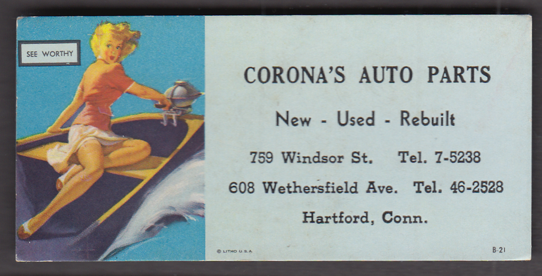 Image for See-Worthy Earl Moran pin-up blotter 1940s Corona's Auto Parts Hartford CT