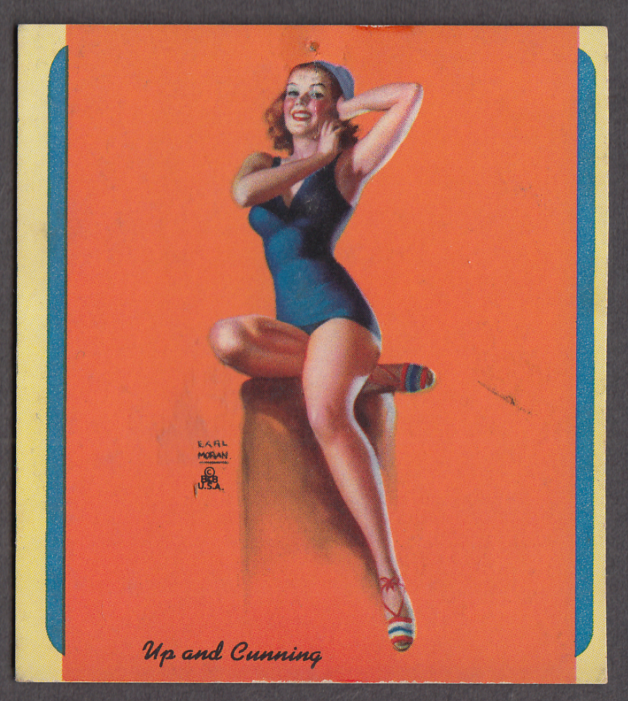 Image for Up & Coming Earl Moran pin-up miniature blotter 1940s blue 1-piece swimsuit