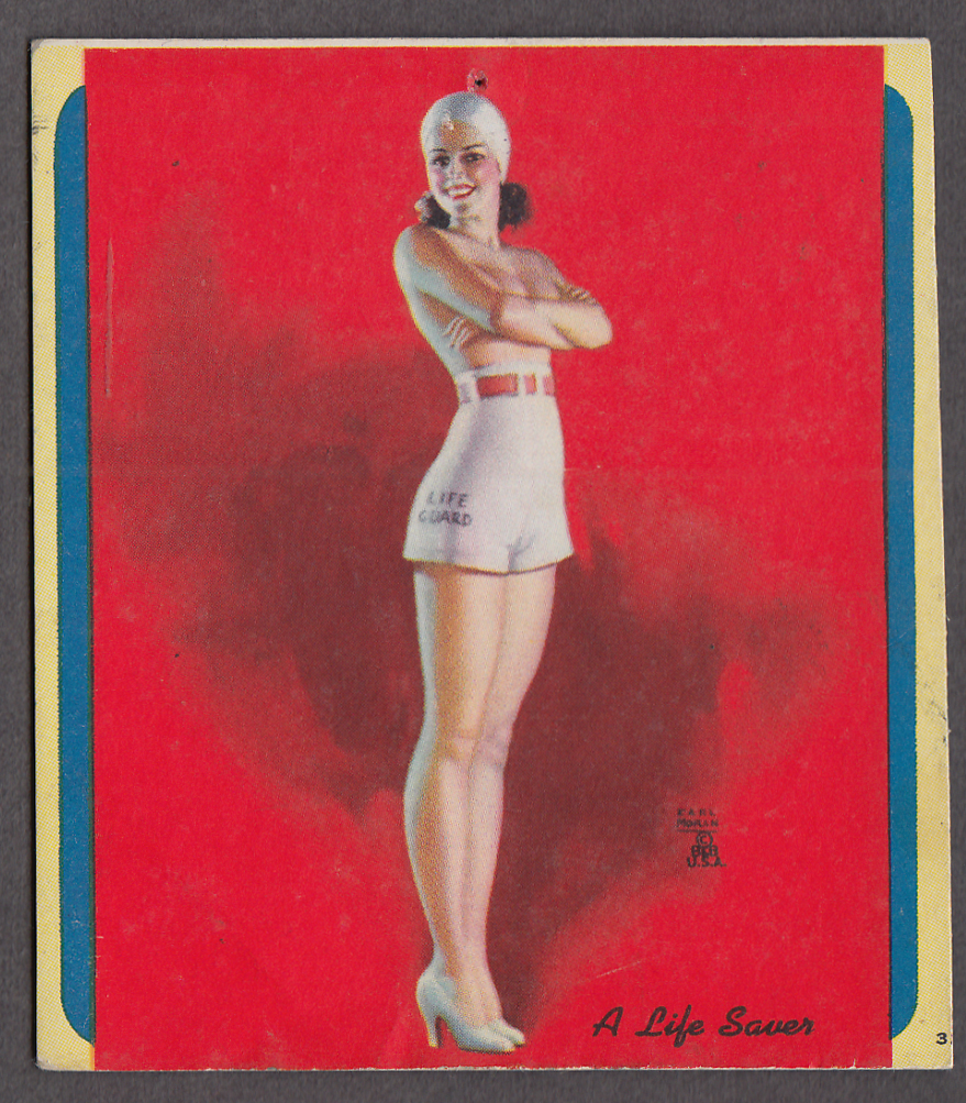 A Life Saver Earl Moran pin-up miniature blotter 1940s topless girl lifeguard