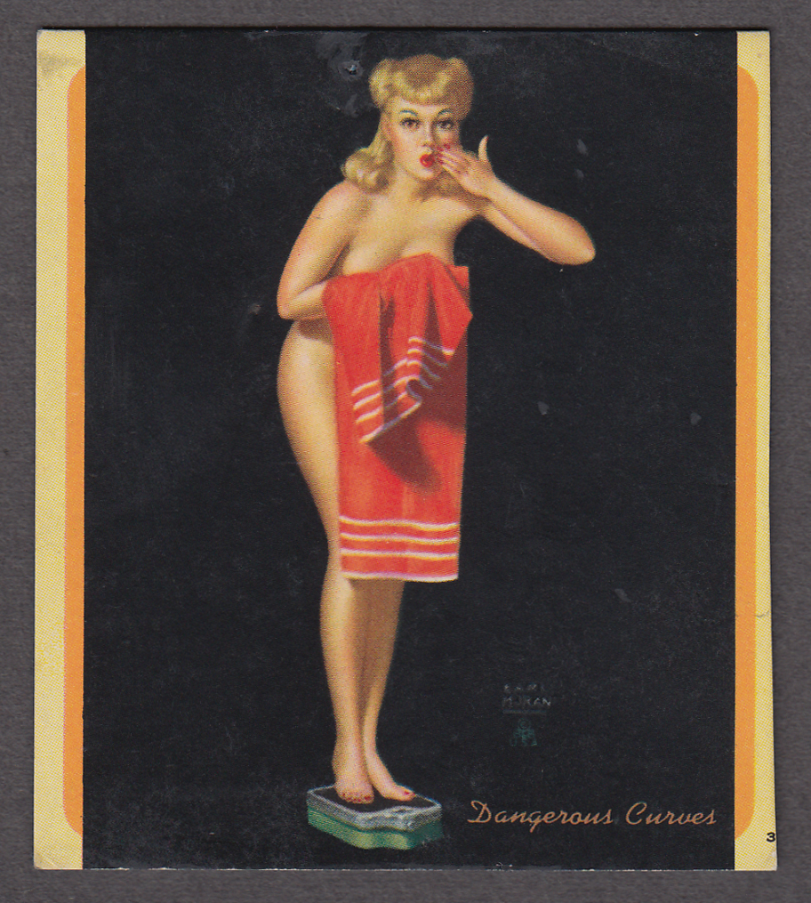 Image for Dangerous Curves Earl Moran pin-up miniature blotter 1940s redhead on scale