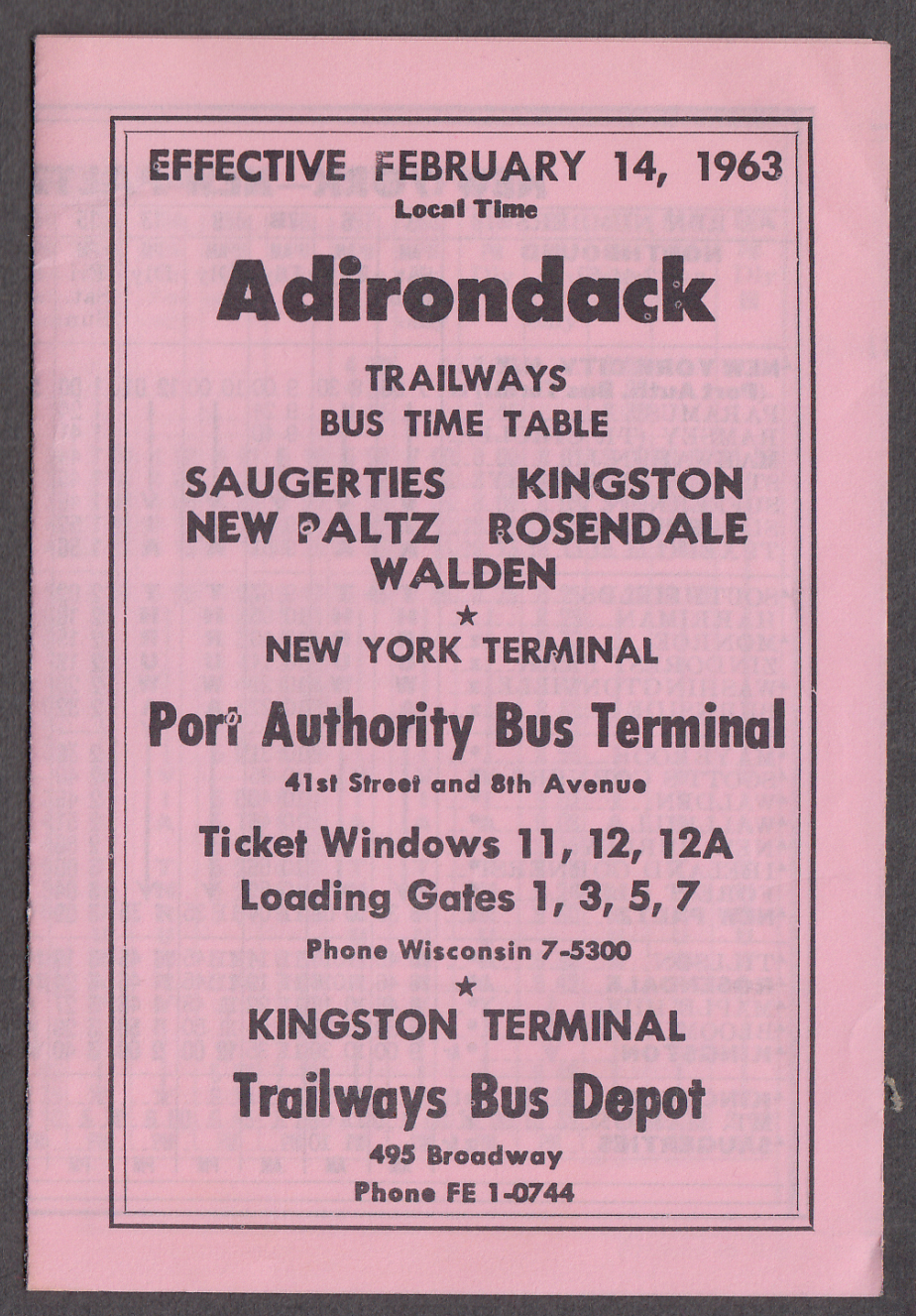 Adirondack Trailways Bus Schedules 1963 Saugerties-Port Authority Kingston +
