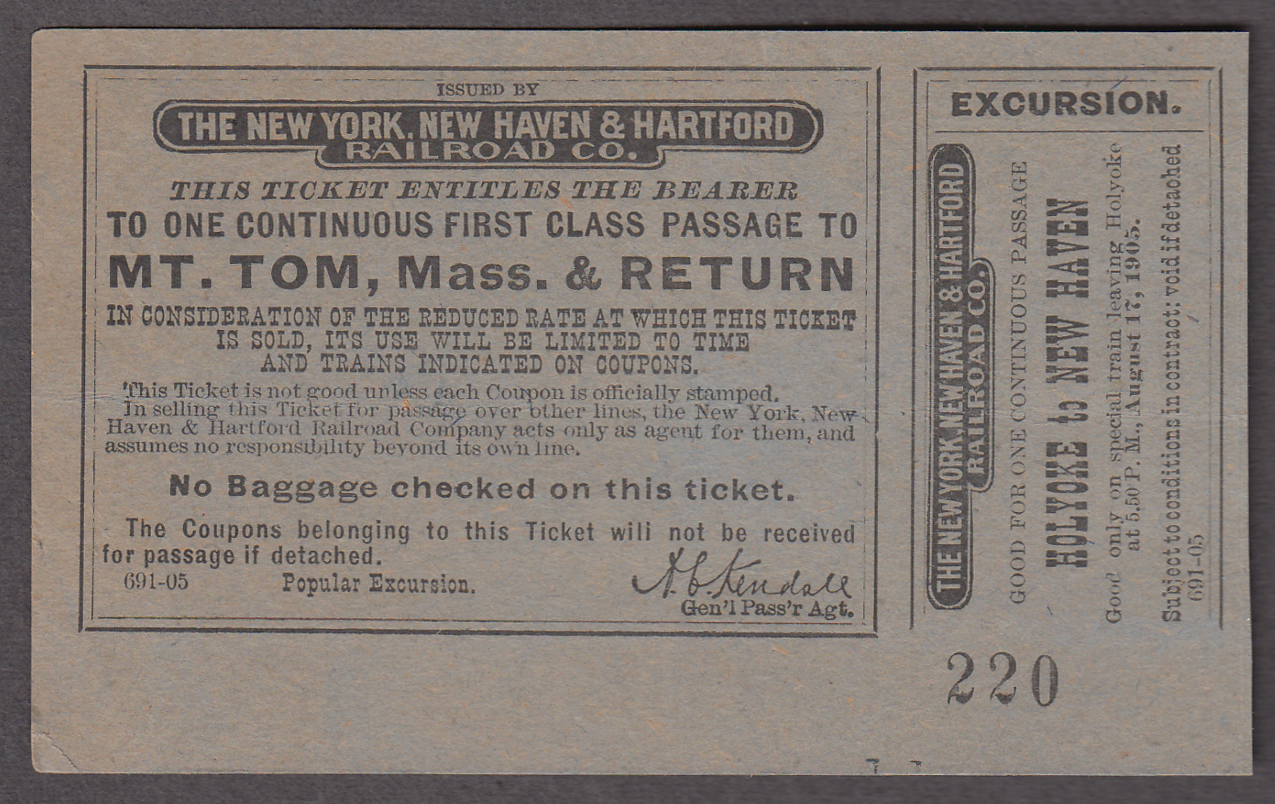 Image for New York New Haven & Hartford RR ticket Mt Tom MA & return 1905