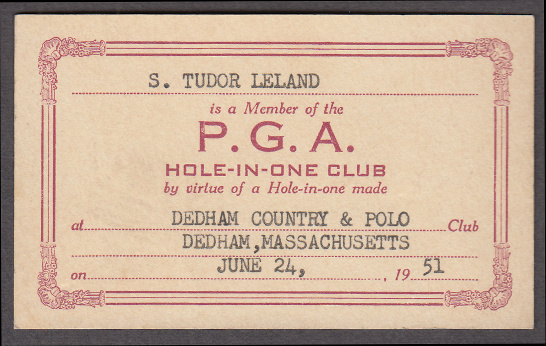 PGA Professional Golf Association Hole-in-One Card Dedham Country Club 1951