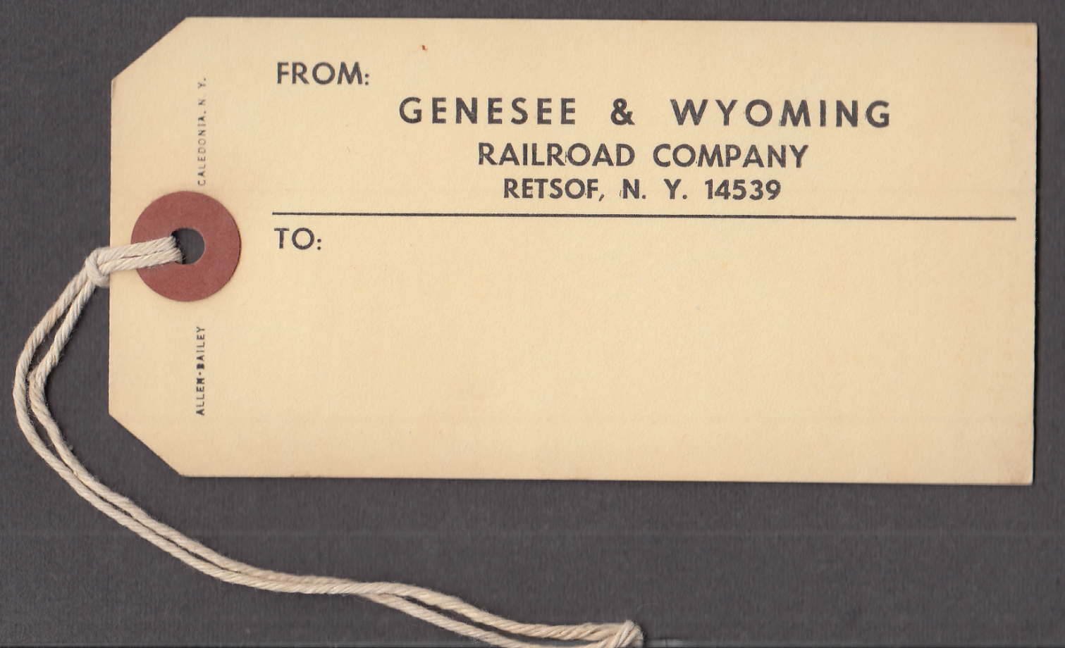 Genesee & Wyoming Railroad Restof NY baggage tag  ca 1960s