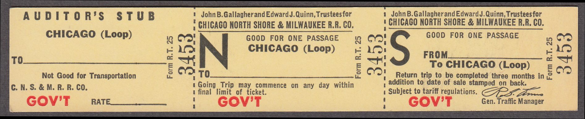 Image for Chicago North Shore & Milwaukee Ry Chicago Loop Government unused ticket