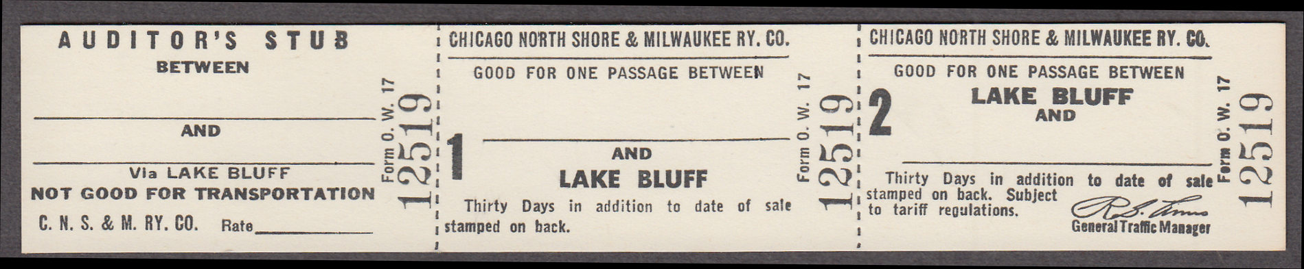 Image for Chicago North Shore & Milwaukee Ry Lake Bluff-any station unused ticket
