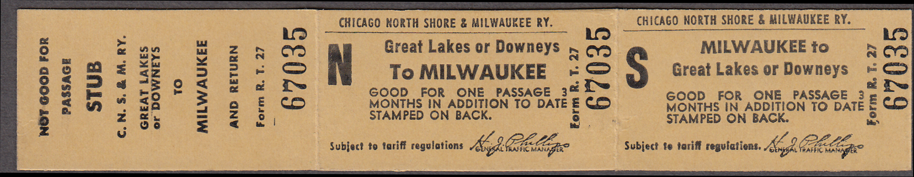Image for Chicago North Shore & Milwaukee Ry Great Lakes or Downey-Milwaukee unused ticket