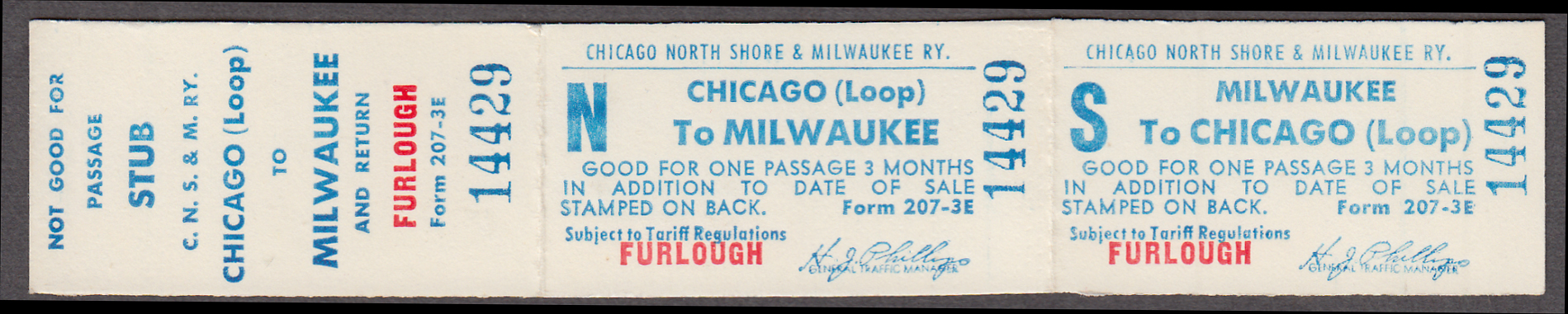 Image for Chicago North Shore & Milwaukee Ry Chicago Loop-Milwaukee Furlough unused ticket