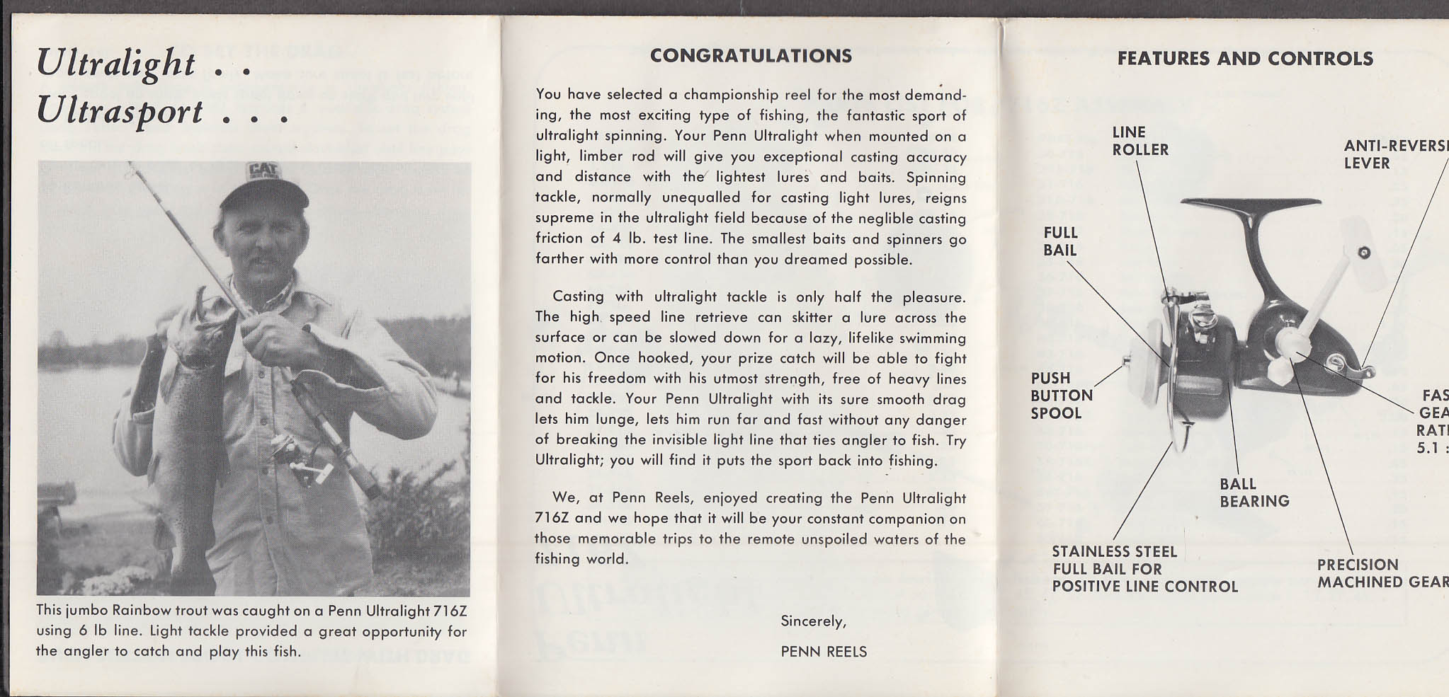 Penn Reels Spinfisher Ultralight 716Z Instruction Manual 1978