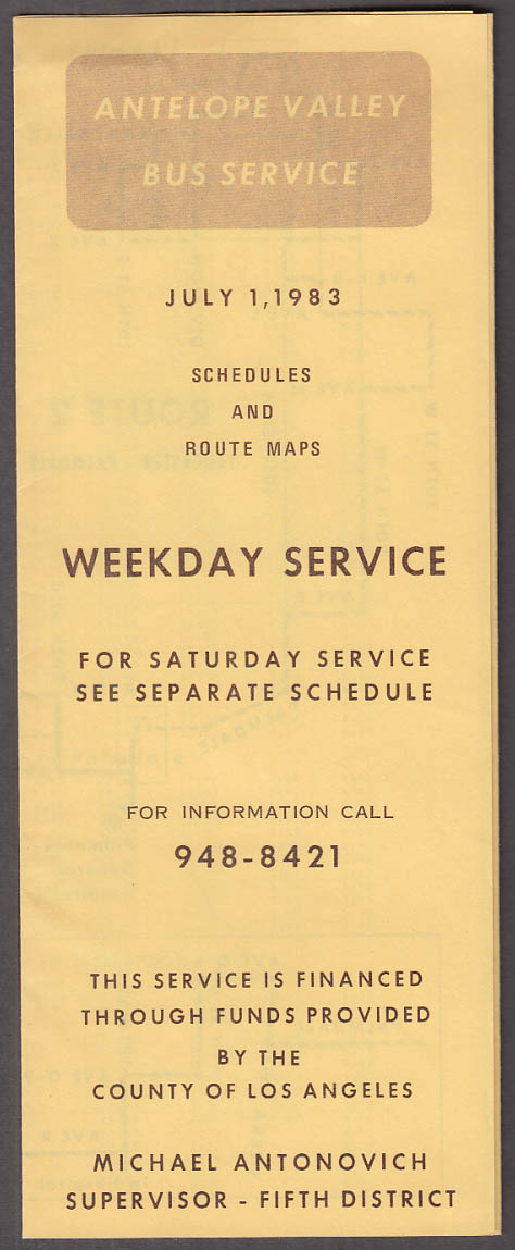 Antelope Valley Bus Service Schedules & Route Maps folder 7/1 1983