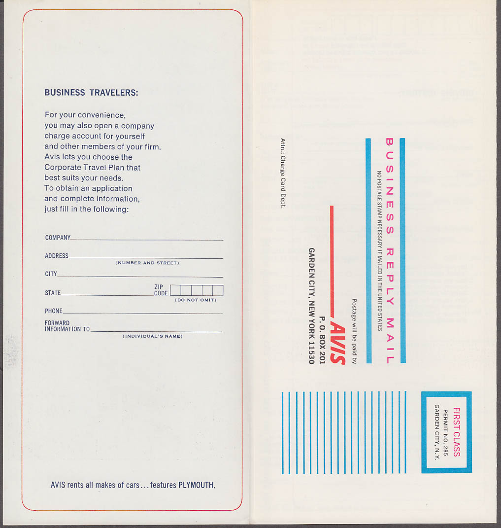 Avis Worldwide Personal Charge Card Application 1969