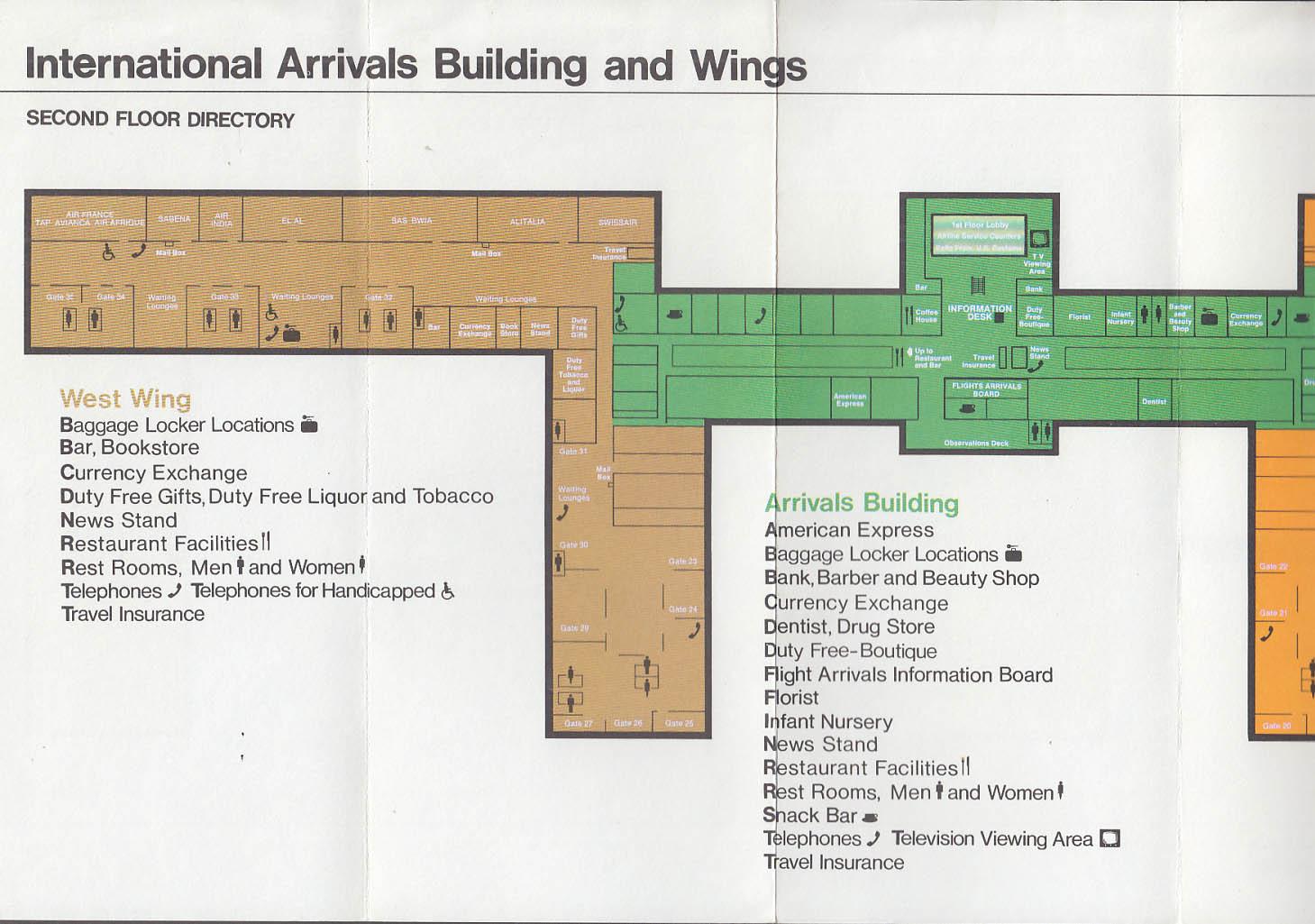 jfk international arrivals building guide airport map 7 1973