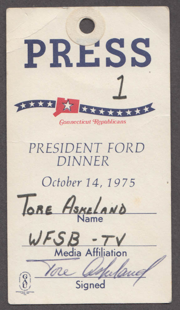 President Gerald Ford Dinner Connecticut Republicans Press Pass 1975 WFSB-TV