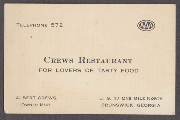 Crews Restaurant US 17 1 Mile N Brunswick GA business card 1930s