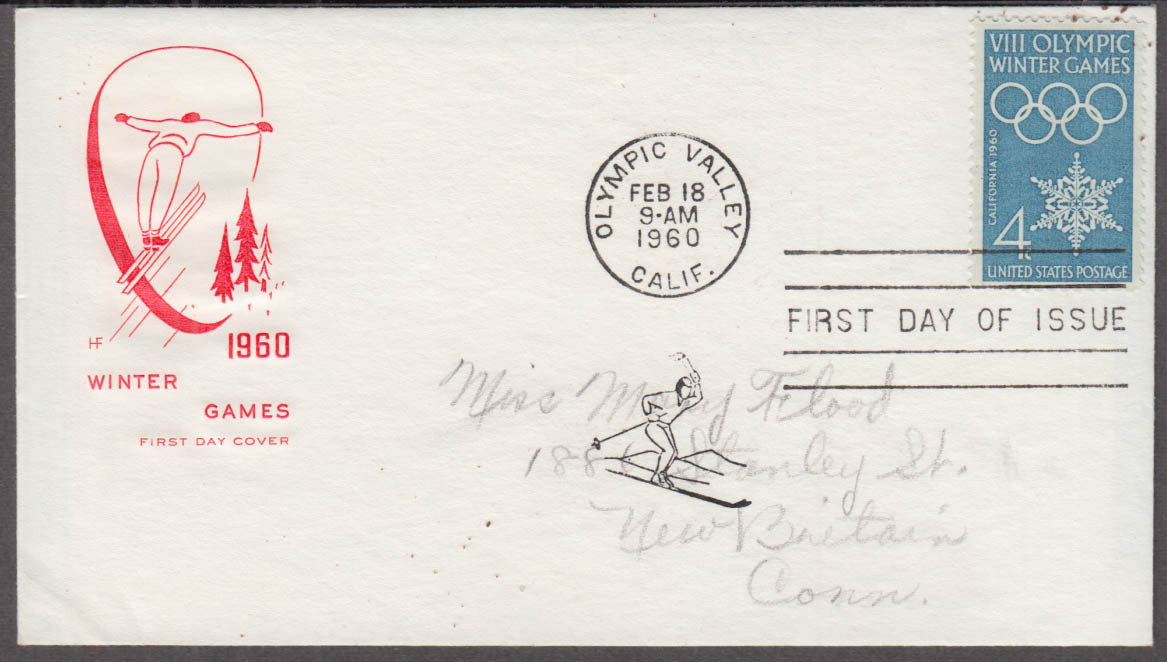 1960 Winter Olympics 4c FDC cachet Olympic Valley CA 2/18 1960