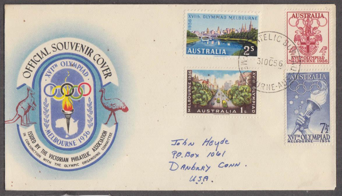 1956 Melbourne Summer Olympics Victorian Philatelic souvenir cover Australia