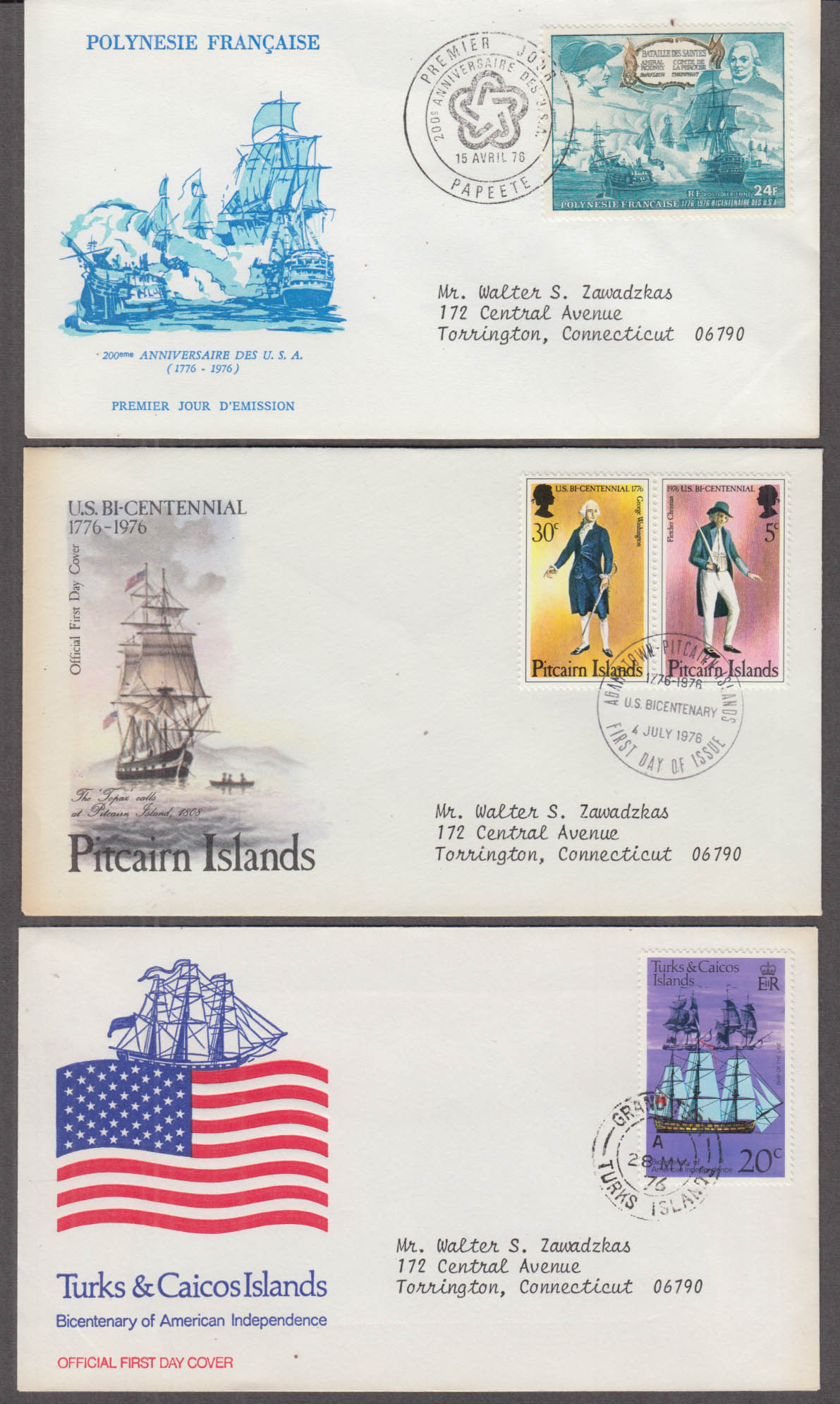 Three USA Bicentennial FDC 1976 Pitcairn Is Turks & Caicos French Polynesia