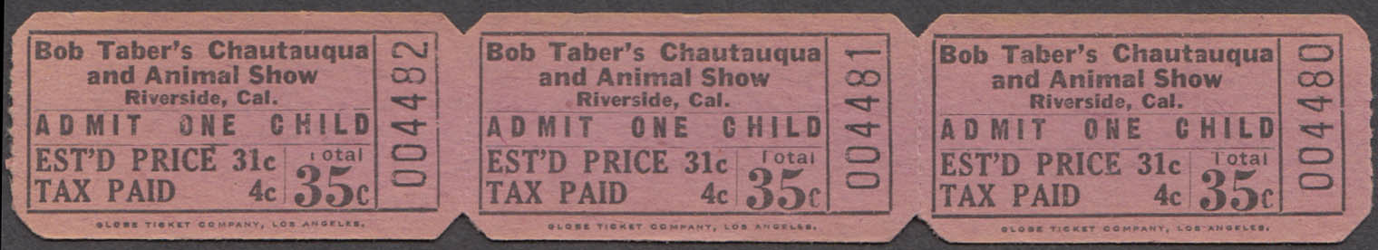 Bob Taber's Chautauqua & Animal Show strip of three 35c child circus tickets