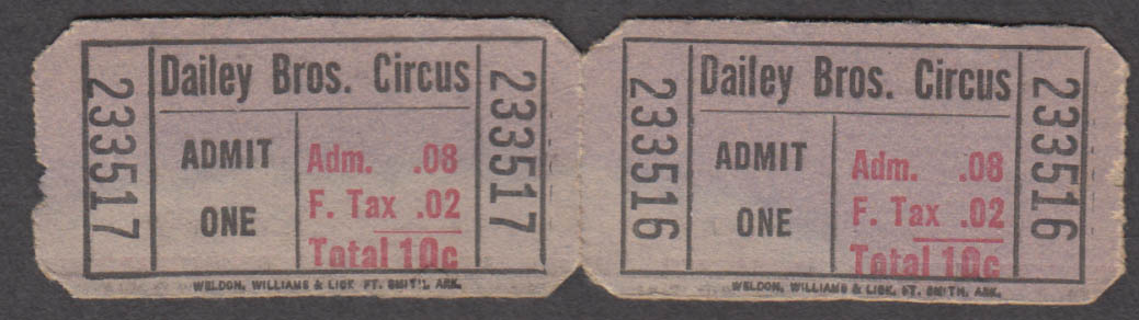 Dailey Bros Admit One 10c strip of two circus tickets
